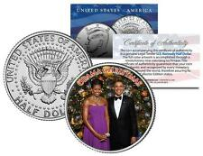 OBAMA CHRISTMAS Family Colorized JFK Half Dollar U.S. Coin BARACK and MICHELLE