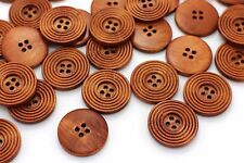 Brown Circle Wooden Button Large Wide Edge Coat BOHO Ethnic Tribal 30mm 20pcs