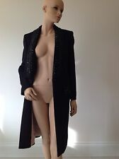 EMILIO PUCCI- UK 10-12-14  RRP £4150 -BLACK DRESS COAT-JACKET-ALPACA-WOOL-BEADED