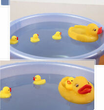 Cute Baby Toy Bath Yellow Duck Red mouth Rubber Squeaky Family 4pcs Set Washing