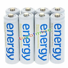 8x AAA 3A 2000mAh 1.2V Ni-Mh Energy Rechargeable Battery White Cell for RC MP3