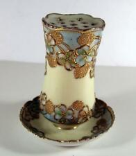 Antique Nippon Noritake  Heavy Gold with Blue Flowers Hat Pin Attached Saucer