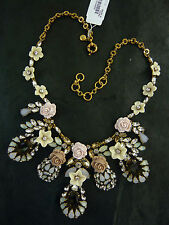"NWT J. CREW ROSE BLOOM NECKLACE PALE PINK w/ OPALESCENT CRYSTALS 18""L x 3""W"