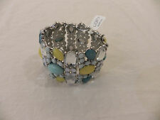 LOFT Stretch Bracelet! Light Blue, Yellow, Clear Gems! RV $29
