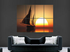 SAILING BOAT SUNSET AT SEA OCEAN ART HUGE  LARGE PICTURE POSTER GIANT