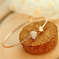 Fashion Women Gold Rhinestone Love Heart Bangle Cuff Bracelet Jewelry Gift