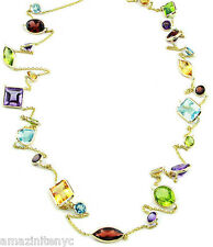 14K Yellow Gold Station Necklace Multi-Shape & Multi-Color Gemstones 32 Inch