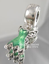 Disney TINKERBELL DRESS Genuine PANDORA Silver/Green Enamel DANGLE Charm NEW