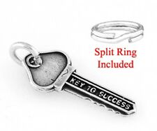 "STERLING SILVER ""KEY TO SUCCESS"" CHARM  W/ SPLIT RING"