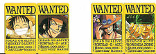 ONE PIECE STICKERS PACK LUFFY ACE ZORO  WANTED 8,5X5,6 CM CUTE NEW