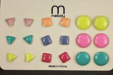 set pack 9 pair metal enamel painted post stud earrings triangle square circle