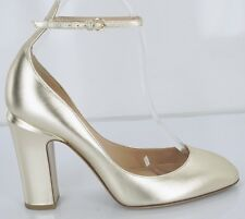 Valentino Leather Tango Ankle Strap Pumps SZ 37.5 Round Toe Gold Heels $1045
