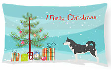 Siberian Husky Merry Christmas Tree Canvas Fabric Decorative Pillow