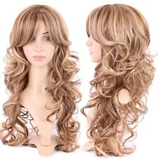 HOT Women Long Hair Full Wig Natural Curly Wavy Straight Ombre Synthetic Wigs 46