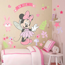 Disney Minnie Mouse Nursery Wall Stickers Girls, Pink, Flowers, Fairy, Animals