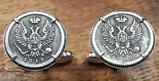 1812 Imperial Russian Double Eagle 5 Kopeks Russia Silver Tone Coin Cufflinks!