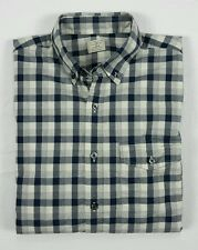 J Crew Mens Navy Blue Cream Gray Gingham Check Long Sleeve Button Shirt Small
