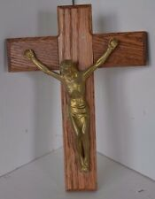 Vintage Wall Cross Crucifix Wood Brass