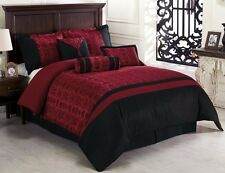 Chezmoi Collection Dynasty 7-Piece Oriental Jacquard Comforter Set, Queen