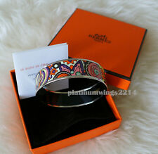 NIB Authentic Hermes Printed W Enamel Bracelet Pink L'Ivresse De L'Infini Bangle
