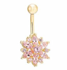 Gold Plated Pink CZ Gem Flower Sparkle Belly Navel Ring Body Jewelry