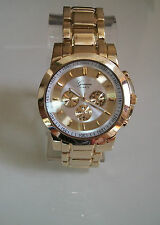 GOLD FINISH 3D GENEVA LARGE BRACELET OVERSIZED CHRONO STYLE UNISEX WATCH