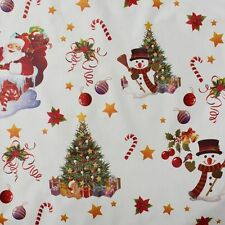 ROUND wipeable oilcloth XMAS fun white christmas wipe clean vinyl TABLECLOTH CO