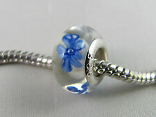 """925 SILVER STAMPED """"BLUE FLOWER"""" MURANO GLASS BEADS EURO CHARM BRACELETS/ DC 001"""