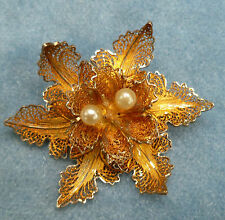 Sterling Silver Filigree Flower Pin Brooch Vintage Portugal