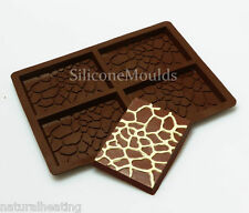 4 cell Medium GIRAFFE PRINT (82g) Chocolate Bar Mould Professional Silicone Mold