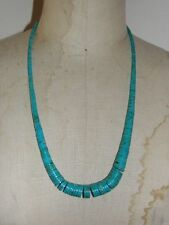 Ethnic American Graduated Cylinder Beaded Turquoise Necklace