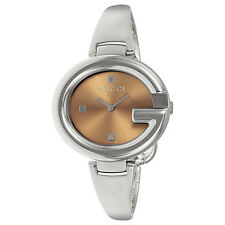 Gucci Guccissima Brown Dial Stainless Steel Ladies Watch YA134302