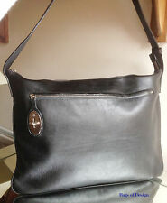 Mulberry Genuino Cuero Negro Grande Messenger Bag + Serial no & bolsa antipolvo-FAB!!!
