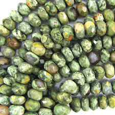 "8mm faceted green rhyolite rondelle beads 8"" strand"