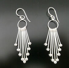 Funky 925 Sterling Silver Multi Strand Drop Earrings with Ball Ends 0009