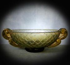 LOVELY VERY RARE LOOP WINGED ARTWARE GLASS VASE / DISH by PIERRE D'AVESN