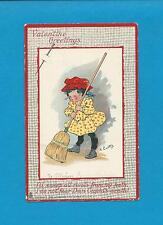 GIRL SWEEPS RIVALS WITH BROOM On Cute A/S CURTIS Vintage 1908 VALENTINE Postcard