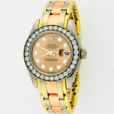 Rolex Masterpiece Pearlmaster Tridor 80299 18K Original Diamonds Watch 29mm Box
