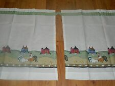 Vtg Sheer Country Rooster/Chickens Window Valance Curtains Folk Art UNUSED 60x24