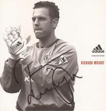 Angleterre & everton: richard wright signé 5x5 adidas promo/photo + coa