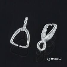 6 Sterling Silver Pinch Clip Bail Pendant Clasps Connector #51719