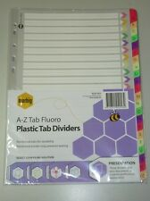 Marbig A-Z tab A4 Fluoro Plastic tab Dividers 36024 indices A to Z divider index