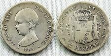 ALFONSO XIII 2 PESETAS 1892 PGM SILVER/PLATA ESCASA