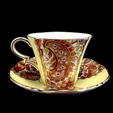Royal Standard Vintage Cup Saucer Yellow Red Paisley
