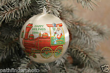 """*1986 COLLECTABLE HAPPY HOLIDAY'S SANTA TRAIN 3"""" ROUND CHRISTMAS ORNAMENT"""