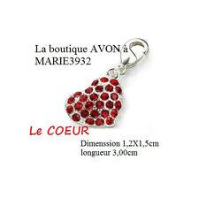 COEUR Rouge Pendentif CHARM's breloque pour Bracelet argenté AVON NEUF