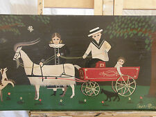 "Mid Century American Primitive 'OUR GOAT CARRIAGE"" Vintage Oil Painting"