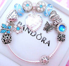 Authentic Pandora Silver Bangle Bracelet Love With Crystal European Charms.