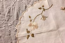 "Antique Society Silk Hand Embroidered Flowers On Linen Round c 1890~16"" Diameter"