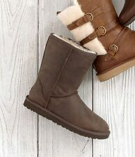 NEW UGG® Australia Short Water-Resistant Mid-Calf Boots SZ 8 Brownstone
